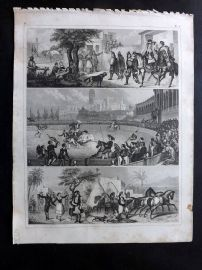 Heck 1849 Antique Print. Bullfighting etc. Spain